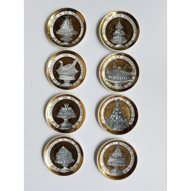 "1960's Piero Fornasetti Black and Gold Coasters ""Pranzo Alle Otto"" - Set of 8 For Sale - Image 12 of 12"