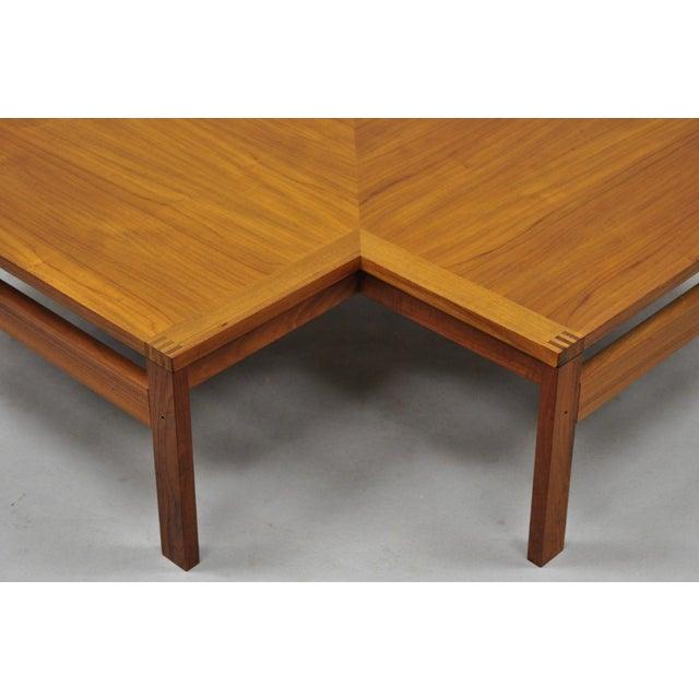 France & Son 1960s Mid-Century Modern Ole Gjerlov-Knudsen & Torben Lind Moduline France & Son Corner Teak Coffee Table For Sale - Image 4 of 13