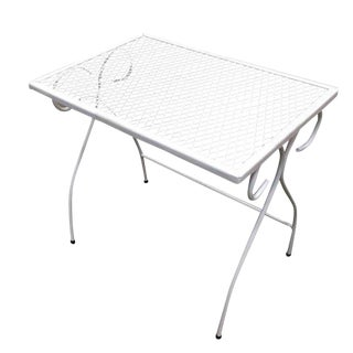 Woodard Mesh Steel Outdoor/Patio Stacking Side Tables, Circa 1950, Pair For Sale