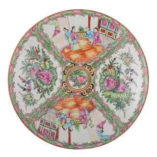 Mid 19th Century Vintage Large Chinese Rose Medallion Plate For Sale