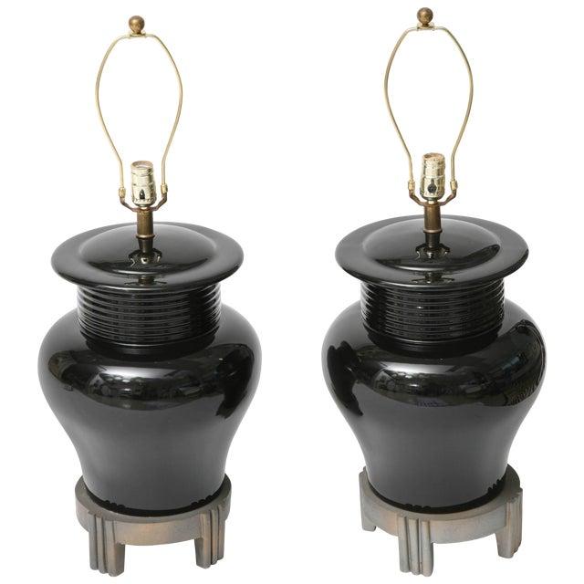Art Deco Revival Large-Scale Black Ceramic Vase Form Table Lamps - a Pair For Sale