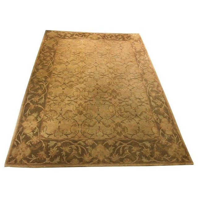 Neutral Luxurious Silk Tibetan Area Rug- 6′2″ × 8′11″ For Sale - Image 10 of 10