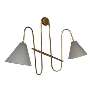 Jean Royere Gold Leaf Iron Pair of Sconces For Sale