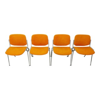 Castelli Giancarlo Piretti Mid Century Modern Aluminum & Orange Dining Chairs - Set of 4