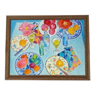 After Dinner l.a. Ii Framed Fine Art Giclée Canvas Print For Sale