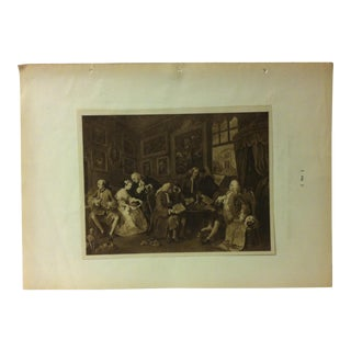 """Antique History of the World's Art Photogravure, """"Marriage - a - La - Mode"""" (Scene 1) by William Hogarth, 1901 For Sale"""