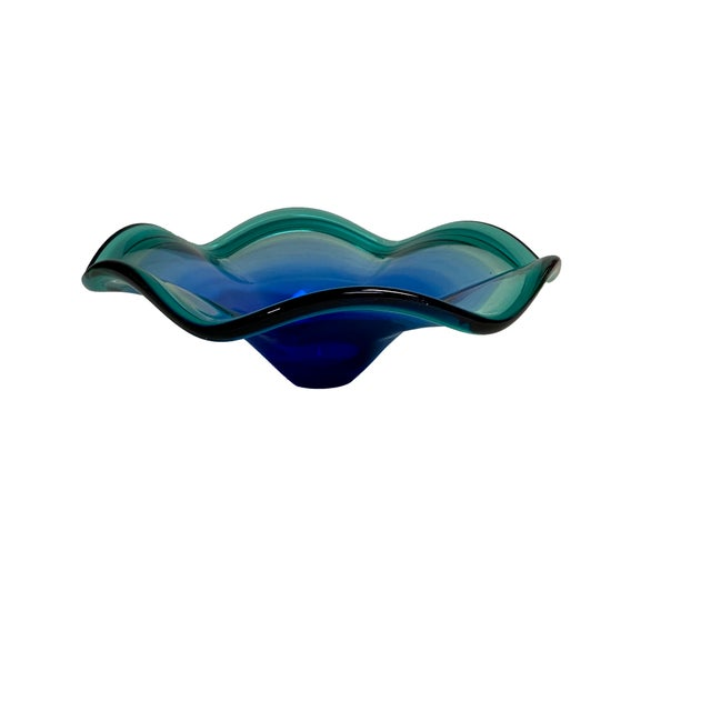 Murano Murano Deep Blue to Green Bowl For Sale - Image 4 of 8
