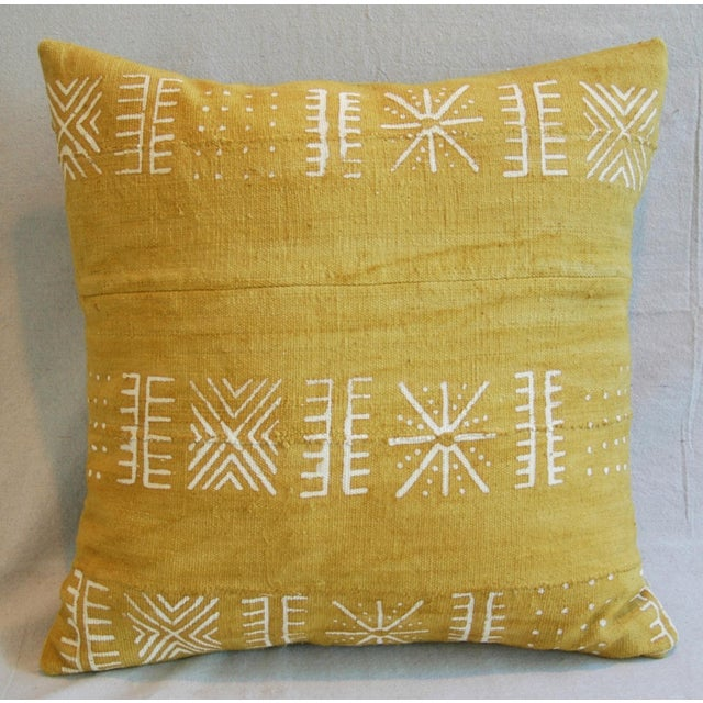 Handwoven Gold & Cream Tribal Down & Feather Pillow - Image 3 of 6