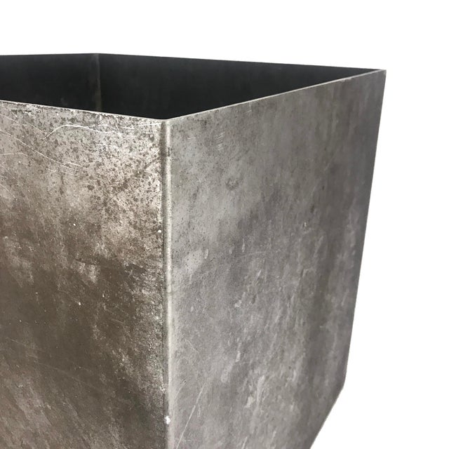 Vintage Cube Architectural Supplements Distressed Steel Planter For Sale - Image 4 of 6
