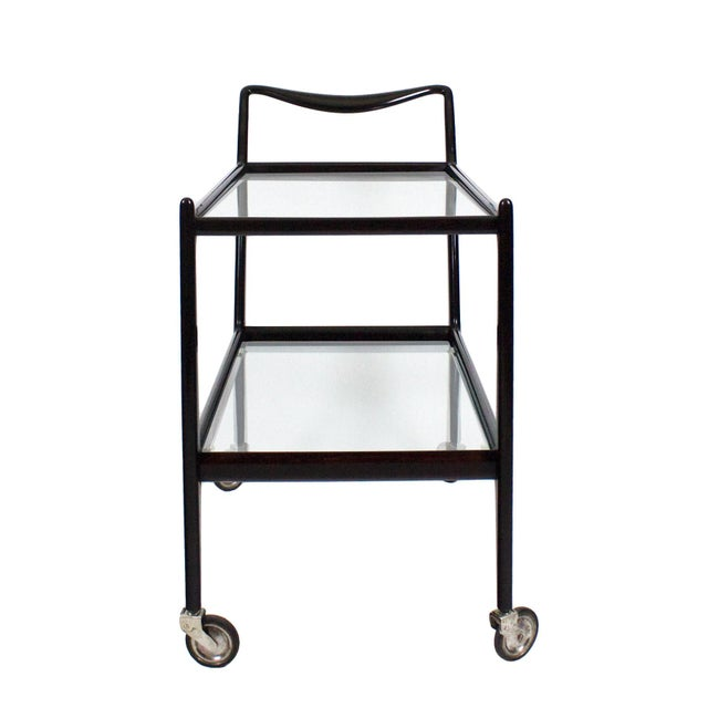 Mid-Century Modern 1950´s Two Levels Bar Cart by Ico Parisi, Stained Beech, Glass - Italy For Sale - Image 3 of 12