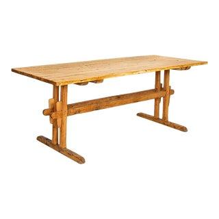 Antique Pine Farm Trestle Dining Table For Sale