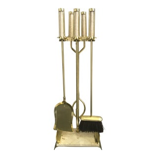 Contemporary Brass & Travertine Fire Tool Set - Set of 4 For Sale