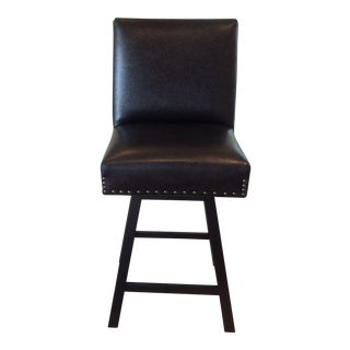 Custom Faux Leather & Wood Barstool For Sale