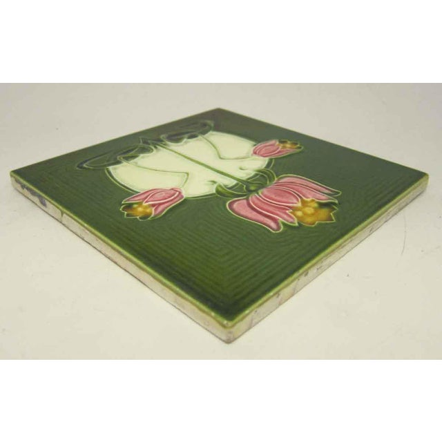 Green Tile With Pink Flowers - Image 2 of 4