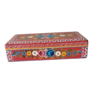 20th Century Americana Hand Painted Floral Red Wooden Box