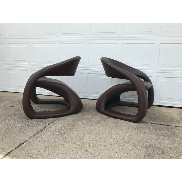 Metal 1990s Vintage Jaymar Memphis Sculptural Cantilever Lounge Chairs - a Pair For Sale - Image 7 of 9