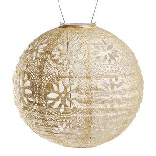 Soji Stella Outdoor Solar Boho Globe Lantern in Pearl For Sale
