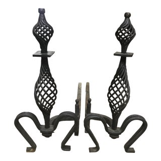 Black Cast Iron Spiral Andirons - a Pair For Sale