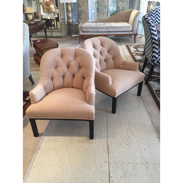Textile Classic Pair of Camel Hair Mid-Century Modern Dunbar Style Club Lounge Chairs For Sale - Image 7 of 9