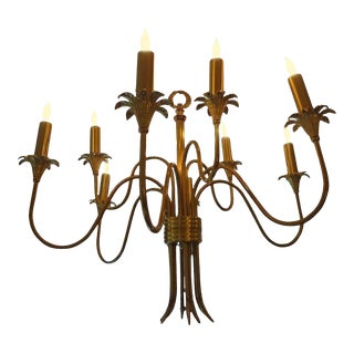 1960's Vintage Italian Mid-Century Stilnovo Attributed Nine Light Brass Chandelier For Sale