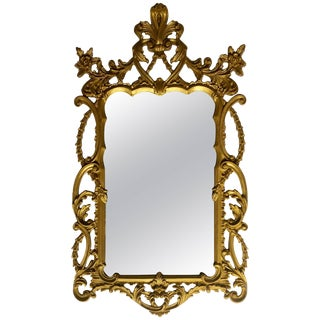 Italian Rococo Giltwood Style Draped Wall Mirror For Sale