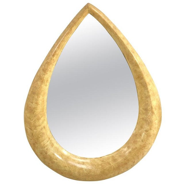 1970s Parchment Lacquered Raindrop Mirror For Sale - Image 11 of 11