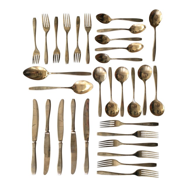 1960s Mid-Century Modern 6-Place Gold Plated Flatware Set For Sale