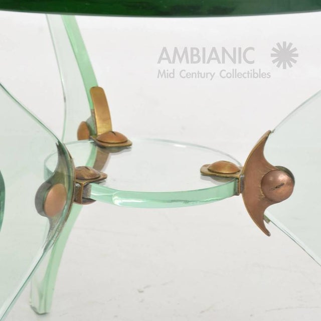 Italian Glass & Bronze Coffee Table For Sale - Image 9 of 10
