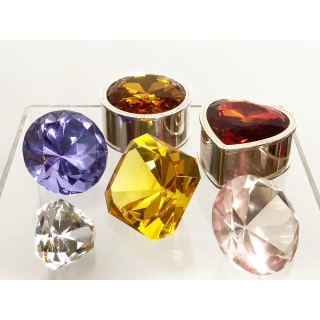 Collection of Crystal Gemstone Paperweights & Boxes - Set of 6 For Sale - Image 9 of 9