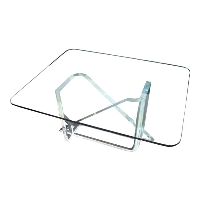 1970s Vintage Gary Gutterman Mid-Century Modern Lucite Glass Dining Table For Sale