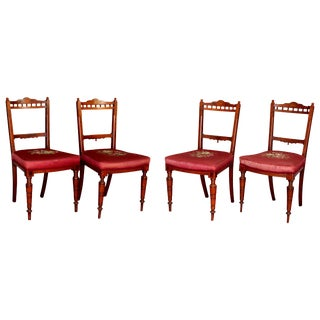 Late 19th Century Antique Victorian Marquetry Inlaid Walnut and Needlepoint Side Chairs- Set of 4 For Sale
