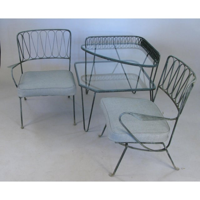 Salterini Pair of Italian 1950s Lounge Chairs and Table by Salterini For Sale - Image 4 of 9