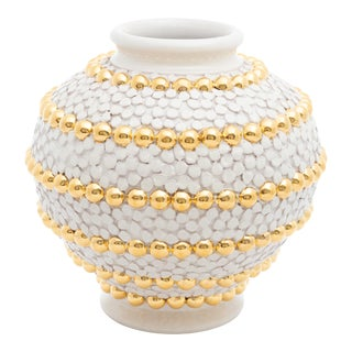 Cream Ortensia And Buttons Vase With 24 Karat Gold Details, ND Dolfi For Sale