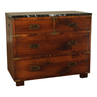 John Stuart Vintage Rosewood Marble Top Campaign Style Chest of Drawers For Sale