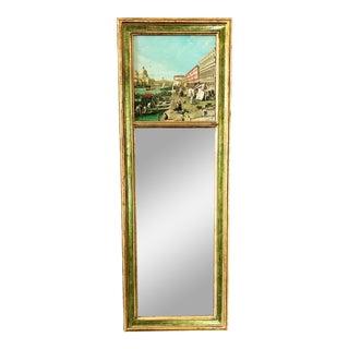 Vintage Green Florentine Venetian Trumeau Mirror For Sale
