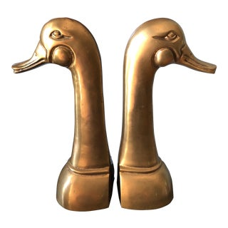 Large Brass Duck Bookends - a Pair