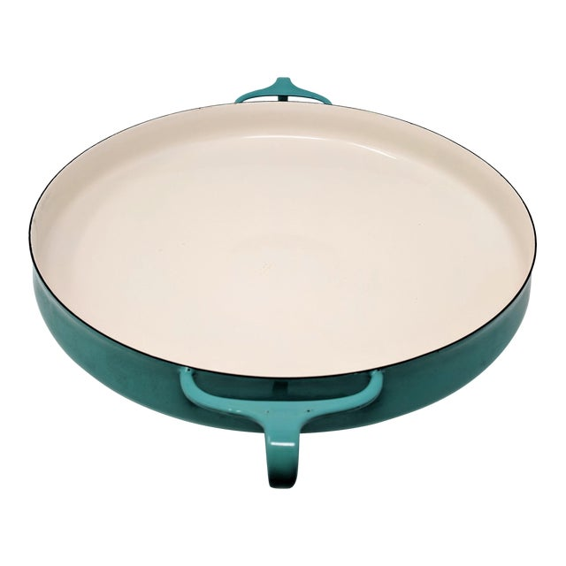 1950s Danish Modern Jens Quistgaard Dansk Ihq Kobenstyle Turquoise Enamel Paella Pan For Sale