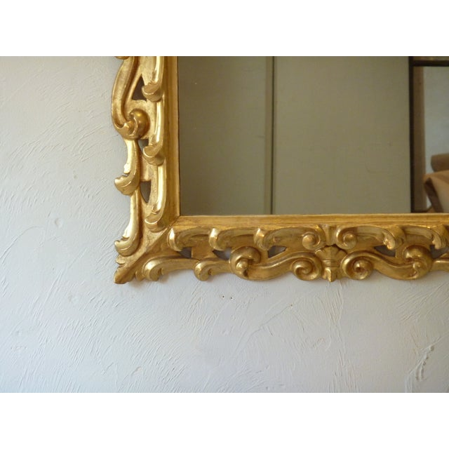 Italian Carved Giltwood Mirror For Sale - Image 4 of 6