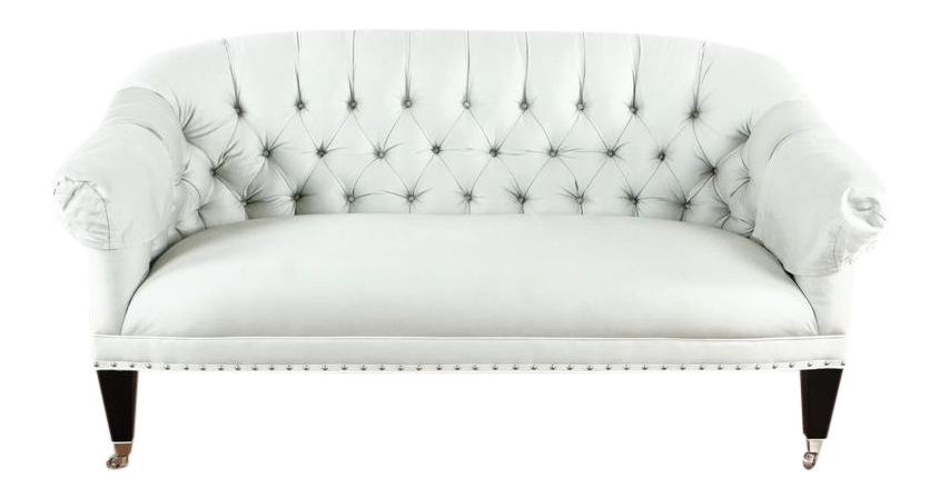 Shabby Chic HD Buttercup White Upholstered Chesterfield Sofa For Sale