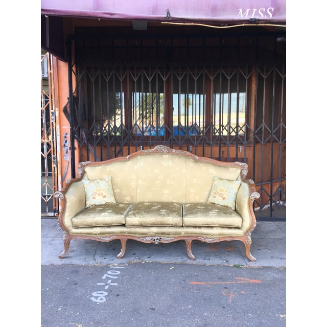 Antique French Olive Green Silk Upholstered Carved Wood Sofa For Sale - Image 10 of 10