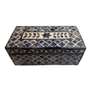 1990s Geometric Patterned Box in Shades of Blue and White Bone and Resin For Sale