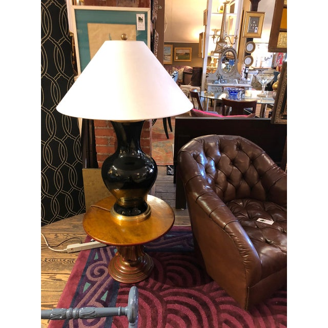 Black Oversized Black and Brass Table Lamp For Sale - Image 8 of 9