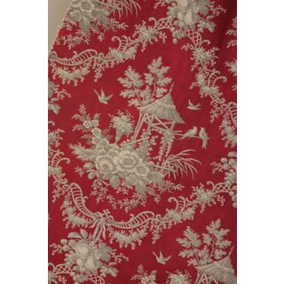 Antique 1870 Rococo Chinoiserie Design Red Ground & Gray Printed Toile Fabric Preview