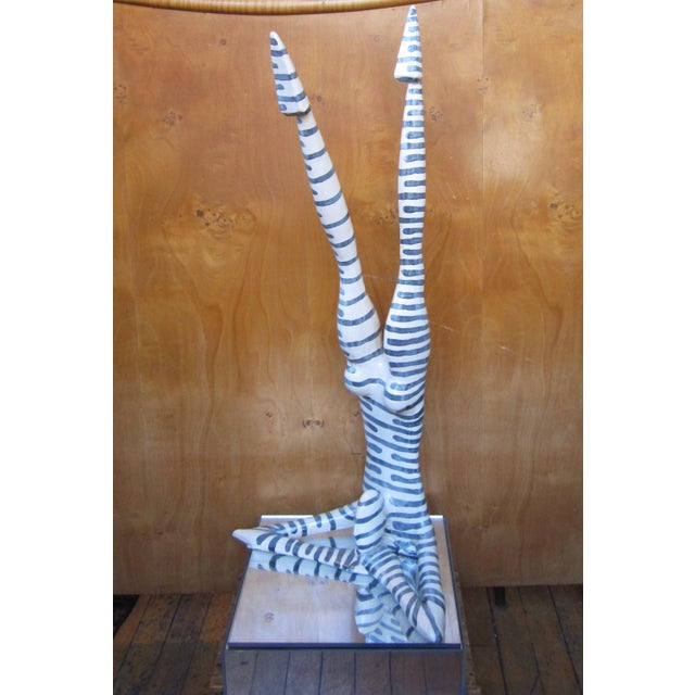"""Contemporary Original Studio Art Postmodern Ceramic """"Acrobat"""" Blue Striped Biomorphic Form Figural Sculpture by Jack Charney For Sale - Image 3 of 13"""