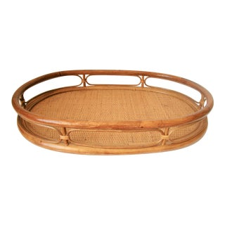1970s Americana Rattan Wicker Serving Tray