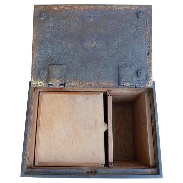 Gray 19th Century Antique Decorative Iron Safe For Sale - Image 8 of 10