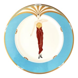 Erte Le Soleil Turquoise Gold Bone China Japan Plate 1985 For Sale