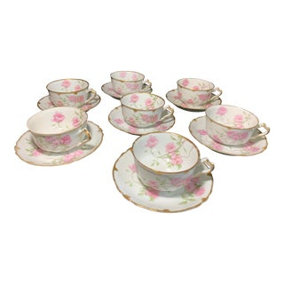 French Limoges Porcelain Baltimore Rose With 24k Gold Trim Tea Cups and Saucers - Service for 7 For Sale