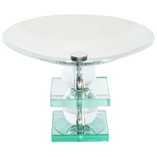 French Art Deco Crystal and Chrome Compote For Sale