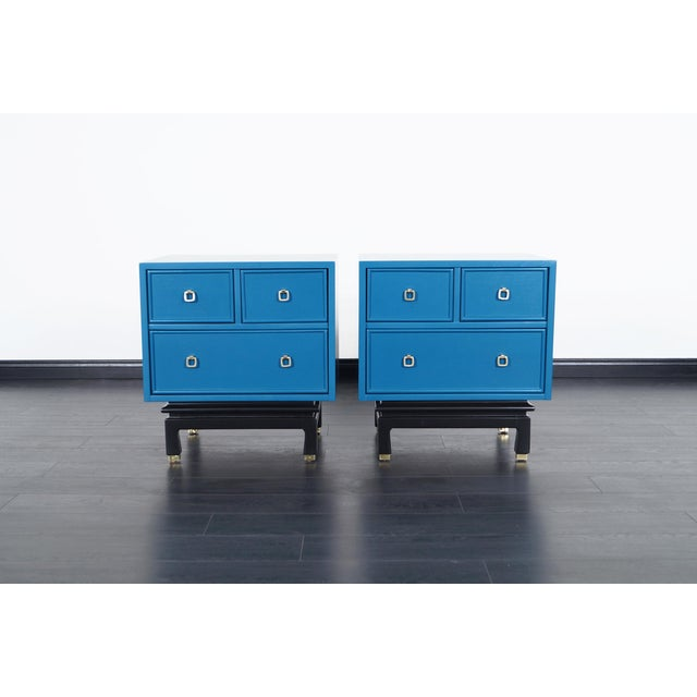 American of Martinsville Vintage Lacquered Nightstands by American of Martinsville For Sale - Image 4 of 8